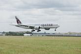 Qatar Airways' Boeing 777-200LR Arrives at Paris Air Show