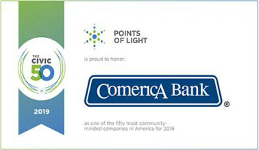 Comerica Receives Civic 50 Honor For Commitment To Improving