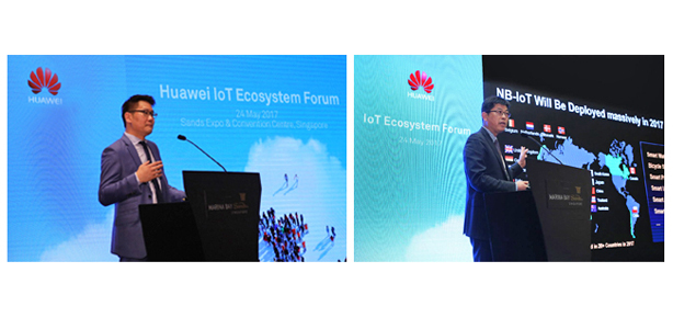 Lim Chee Siong – CSMO, Huawei Southern Pacific Region and Jiang WangCheng – President of IoT Solutions, Huawei Technologies, presenting keynote address at the forum