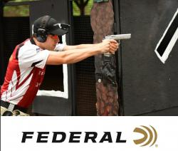 man shooting a handgun, Federal Ammunition Logo below