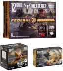 Three boxes of Federal ammunition: 12-gauge TSS, 16-gauge Prairie Storm, 30-06 Ascent
