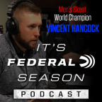 Vincent Hancock speaking into a microphone during his podcast.