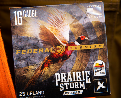 Box of Federal Prairie Storm shot shells with Pheasants Forever logo.