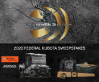 Federal logo with Kubota and Sidekick logos; all-terrain vehicle and Federal logoed merchandise.
