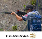 Federal and CCI sponsored shooter Grant Kunkel taking aim on a target.