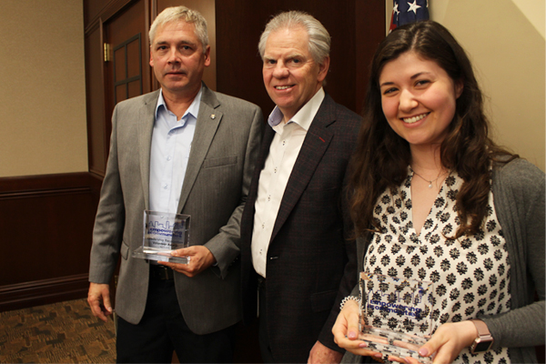 President and CEO Bill Spence and Leadership Recognition Award Winners, William Kropa Jr. and Courtney Bell
