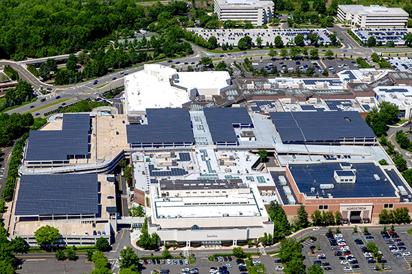 solar rooftop and parking deck system on Mall at Short Hills in New Jersey