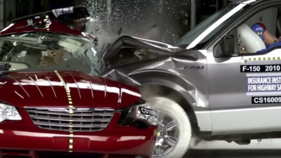Red-light-running recreation crash test