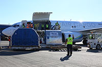 Loading new converted 737-700 freighter