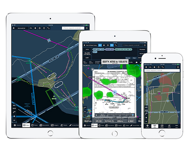 Image of portable devices with the Jeppesen VFR chart data rendered as an overlay on the ForeFlight Mobile map.