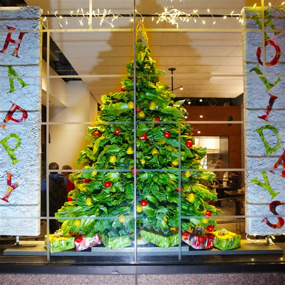 Chipotle just unveiled its 1st holiday window display — and it's 100 percent edible