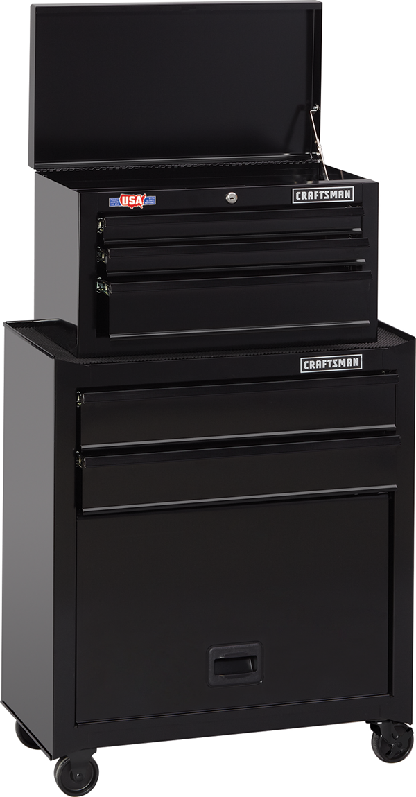 1000S 26 Inch Wide 5 Drawer Tool Chest U0026 Rolling Cabinet Combo (CMST22653BK)