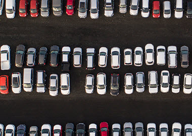 Aerial view of full parking lot
