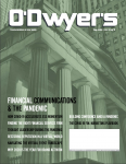 O'Dwyer's Magazine August 2020 issue cover page of a courthouse with a green filter over the page