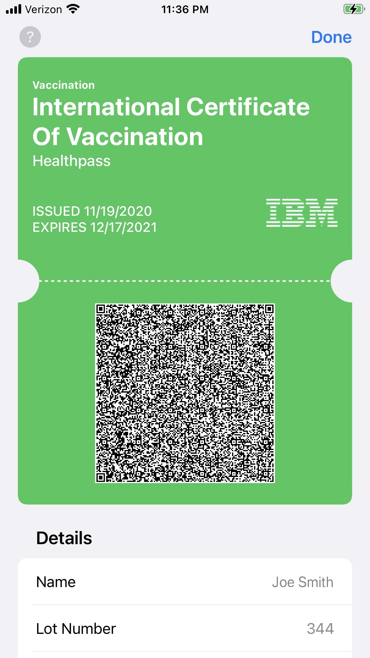 IBM Digital Healthpass Certificate