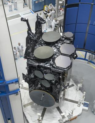 AEHF-4 during its encapsulation at Astrotech in Titusville, Florida.