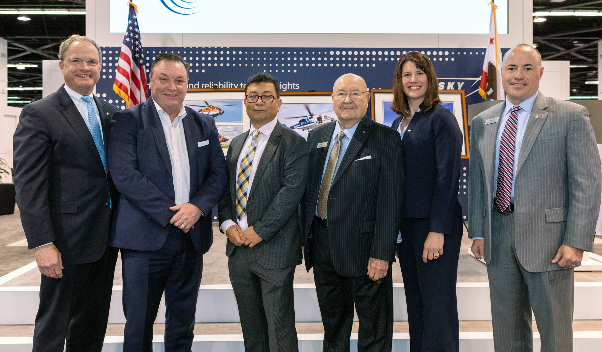 (L to R) Senior executives Don Miller, Bristow, Hank Williams, Cougar Helicopters and Miguel Carrasco, CHC, were recognized by Sergei Sikorsky, Audrey Brady, Sikorsky VP, Commercial Systems and Services and John Rudy, Sikorsky Director, Oil & Gas Services