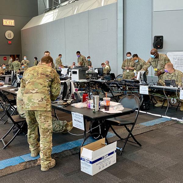 national guard members working response center