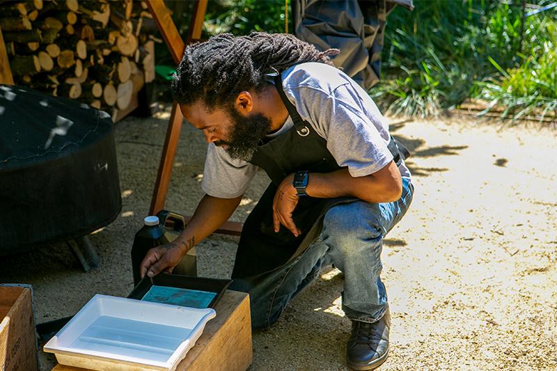 Hasain Rasheed developing a tintype portrait