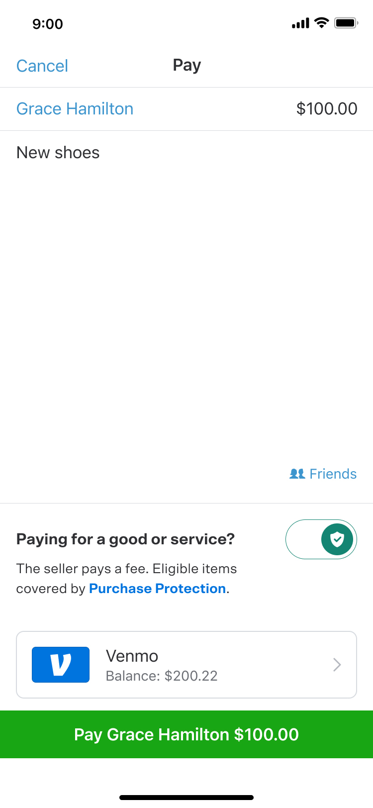 Paying for goods and services with Venmo