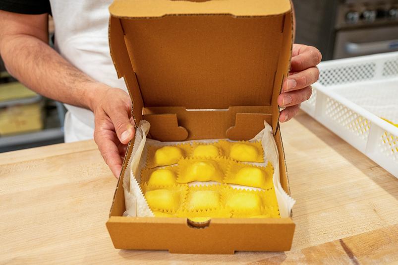 Box of fresh pasta