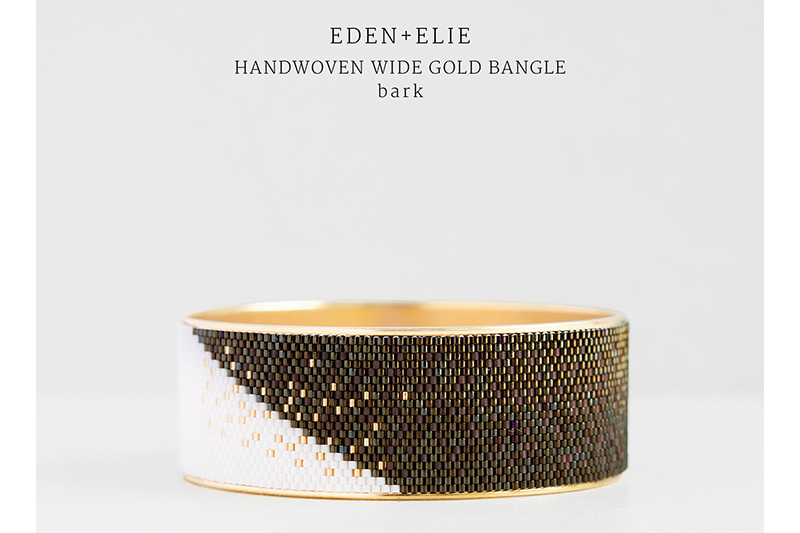 Eden and Elie Handwoven Wide Gold Bangle