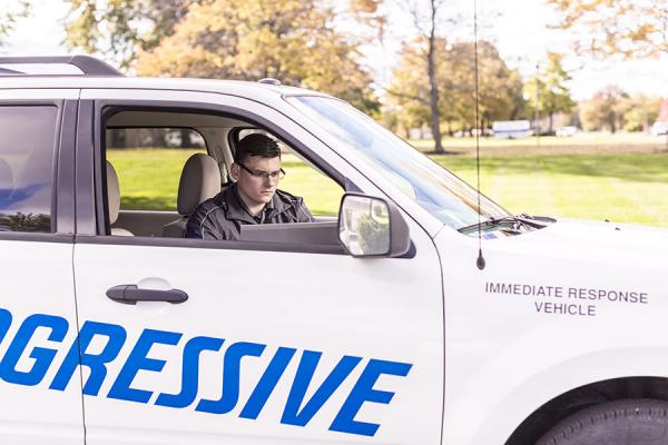 Recruiting: Man in Progressive vehicle