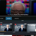 SLING TV's mini guide with Wolf Blitzer in the background