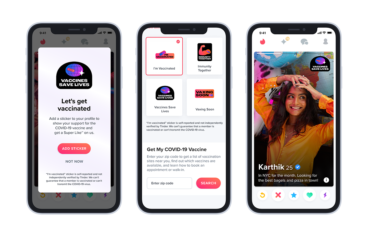 vaccinated, <b>Tinder and Bumble will soon offer an exclusive badge to vaccinated users</b>