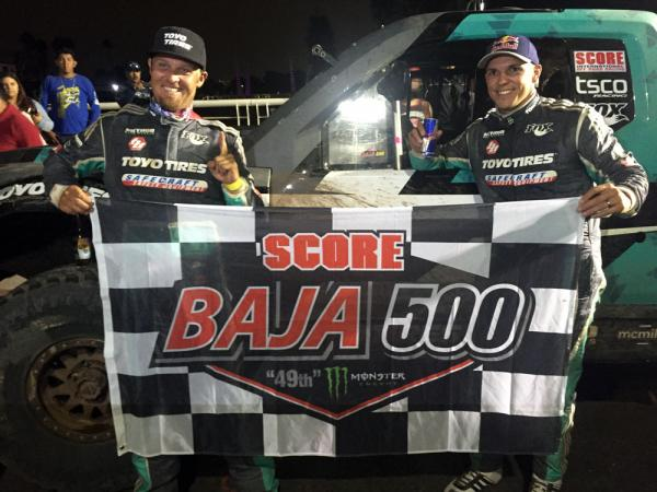 Brady Thompson (L) and Andy McMillin (R) Celebrate their SCORE Baja 500 Win