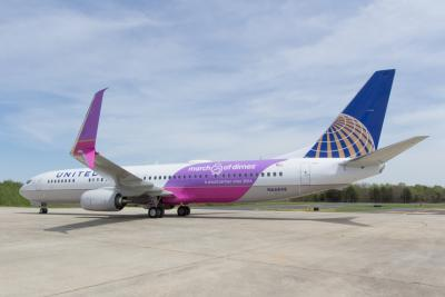 Side view of United Airlines' commemorative March of Dimes plane