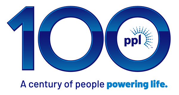 Blue and white PPL 100th Anniversary logo with tagline A century of people powering life